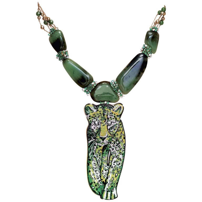 Sicis Savane Green Micromosaic Diamond Emerald Agate Gold Necklace For Sale
