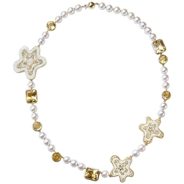 Sicis Fiore Pearl Citrine Quartz Gold Micromosaic Necklace