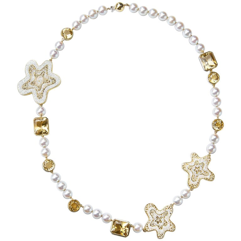 Sicis Fiore Pearl Citrine Quartz Gold Micromosaic Necklace For Sale