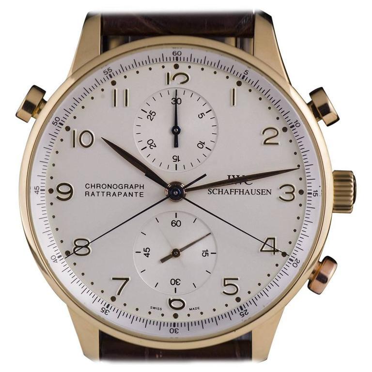IWC Rose Gold Portuguese Chronograph Rattrapante manual wind Wristwatch