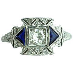 1930S Art Deco Sapphire Diamond Platinum Ring