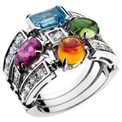 Bulgari Allegra Tourmaline Topaz Peridot Citrine Diamond Gold Ring