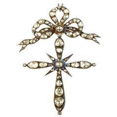 Antique Victorian rose cut diamond Bow Cross Pendant