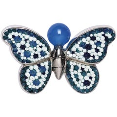 Stylish Butterfly Pin Jacket Silver Agate Hand Decorated with Micromosaic