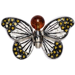 Stylish Butterfly Pin Jacket Silver Amber Hand Decorated with Micromosaic