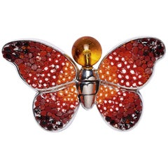 Stylish Butterfly Pin Jacket Silver Quartz Hand Decorated with Micromosaic