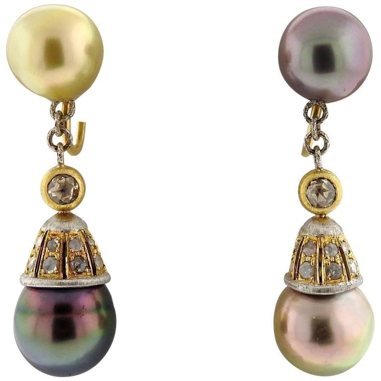 Buccellati Gold Diamond Pearl Drop Earrings For Sale