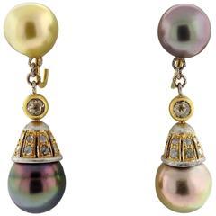 Buccellati Gold Diamond Pearl Drop Earrings