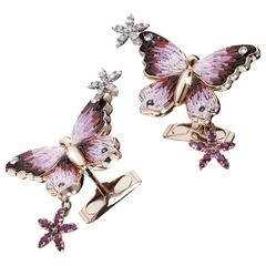 Sicis Butterfly Pink Sapphire Diamond Micromosaic Gold Cufflinks