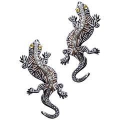 Sicis Gecko Yellow Sapphire Diamond Gold Micromosaic Cufflinks