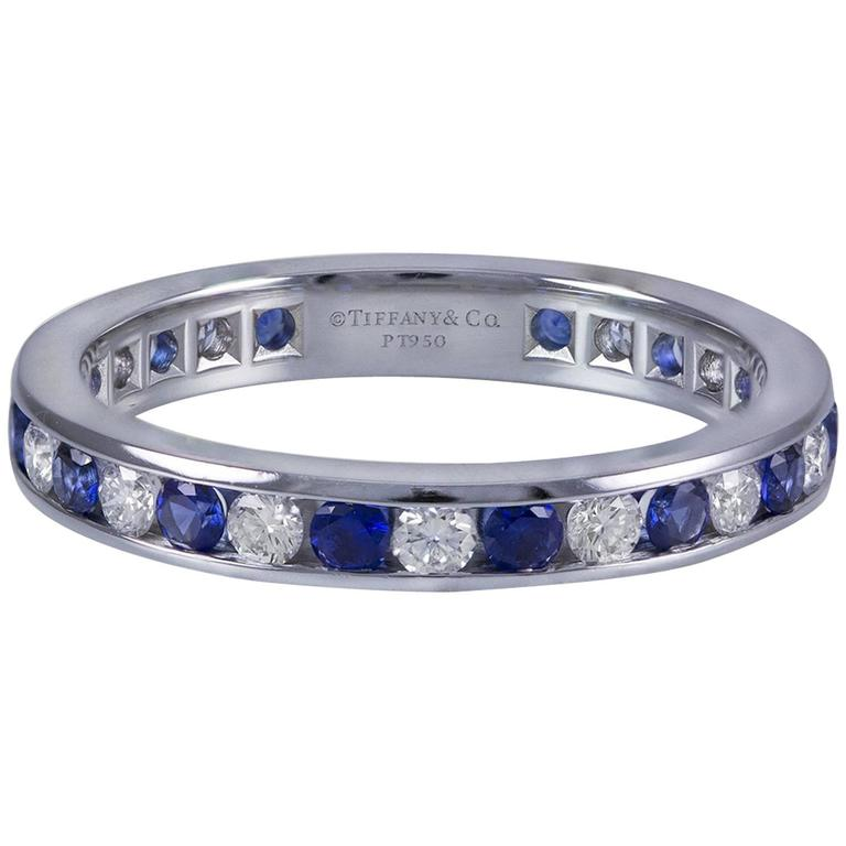Sapphire Diamond Platinum Wedding Band Ring 1