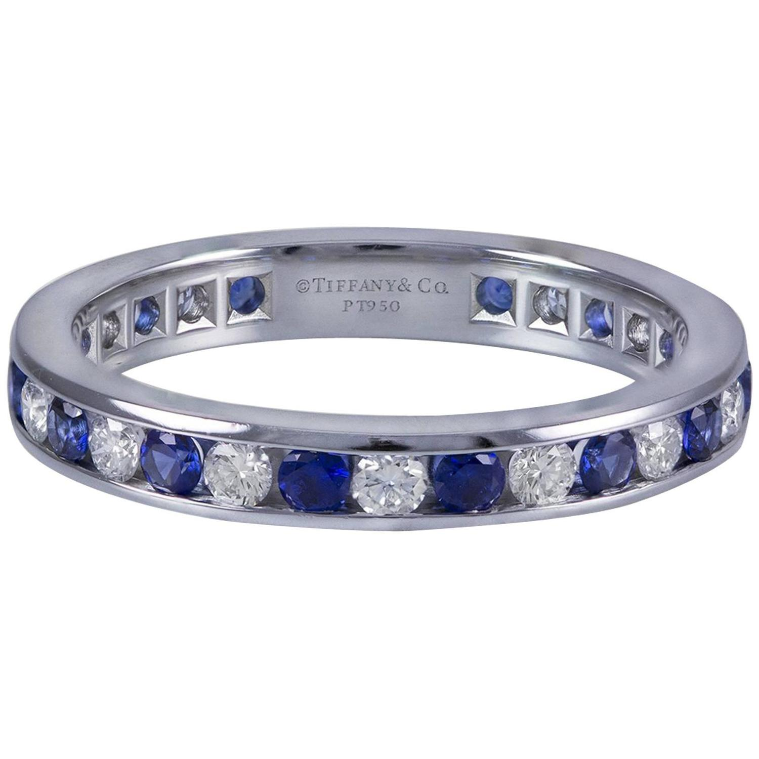 tiffany and co sapphire diamond platinum wedding band ring for