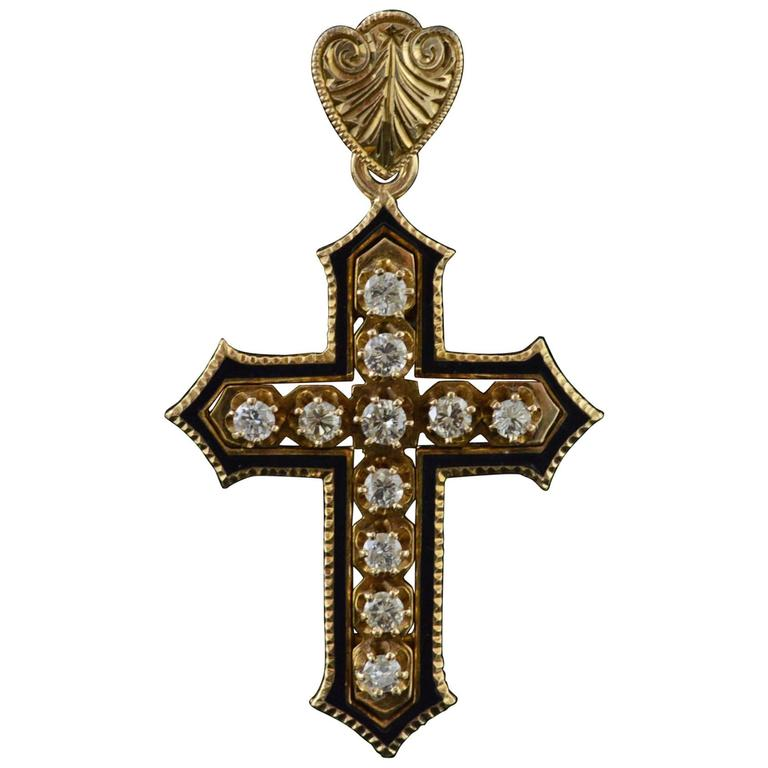 1890s Antique Victorian Black Enamel Diamond Gold Cross Pendant