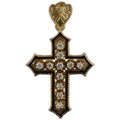 1890s Antique Victorian Black Enamel Diamond Gold Cross Pendant