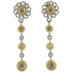 Buccellati Diamond Gold Flower Drop Earrings