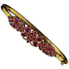 Ruby Gold Filigree Cluster Bangle Bracelet