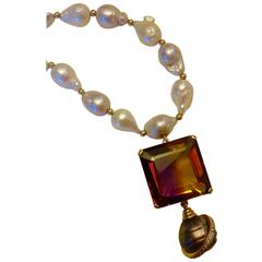Michael Kneebone Ametrine Baroque Tahitian Pearl Diamond Gold Necklace