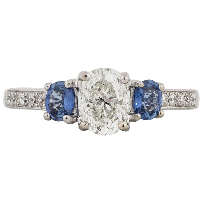 Three-Stone Diamond and Sapphire Ring For Sale