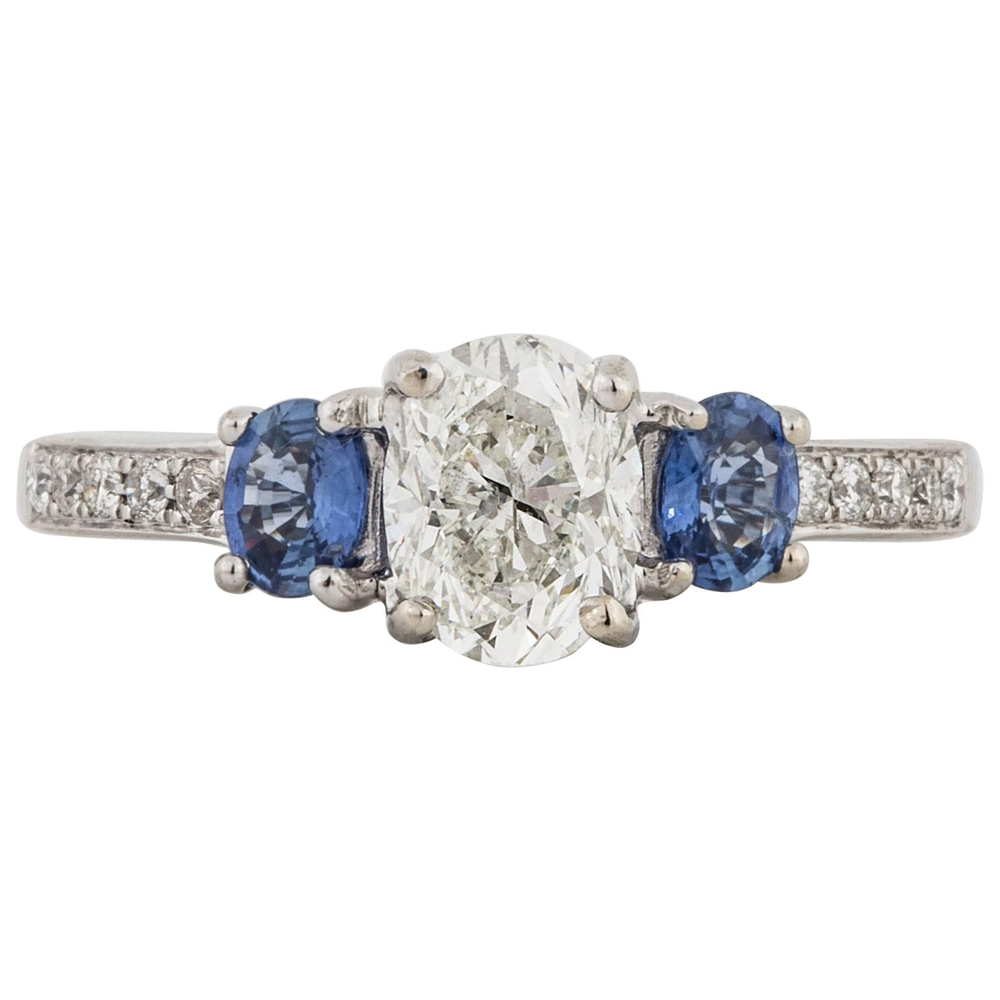 Three-Stone Diamond and Sapphire Engagement Ring