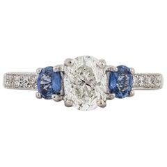 Three-Stone Diamond and Sapphire Engagement Ring
