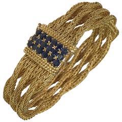 1970s Cartier 6 row sapphire gold interwoven Bracelet