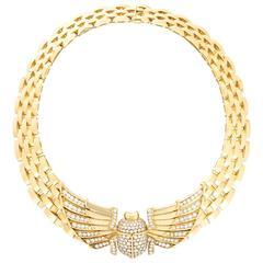 Cartier Egyptian Revival Diamond Gold Scarab Necklace