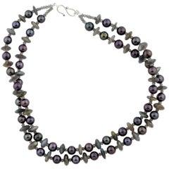 Stunning Aubergine Pearl Necklace enhanced with sparkling Labradorites