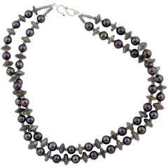 Stunning Aubergine Pearl Necklace enhanced with sparkling Labradorites