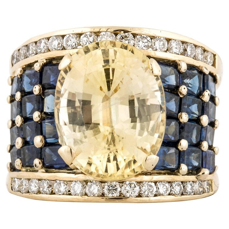 18K Yellow and Blue Sapphire Wide Band Ring