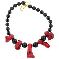 Elegant Red Bamboo Coral Black Onyx necklace