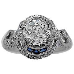 1920s Art Deco .95 carat Diamond Sapphire Gold Engagement Ring