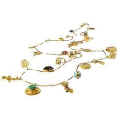 Wonderful Multi Charm Gold Necklace
