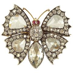 Antique Victorian Rose Cut Diamonds Silver Gold Butterfly Brooch