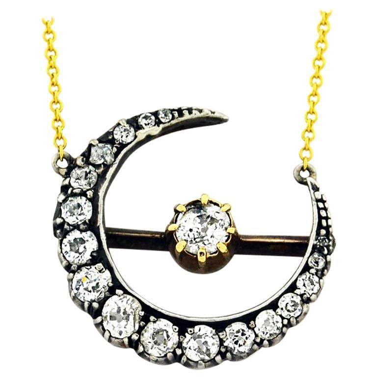 Antique Old European Cut Diamond silver topped gold Crescent Necklace