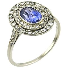 Edwardian Sapphire and Rose Cut Diamond Cluster Ring