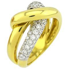 Fred & Co Diamond Gold Twist Ring