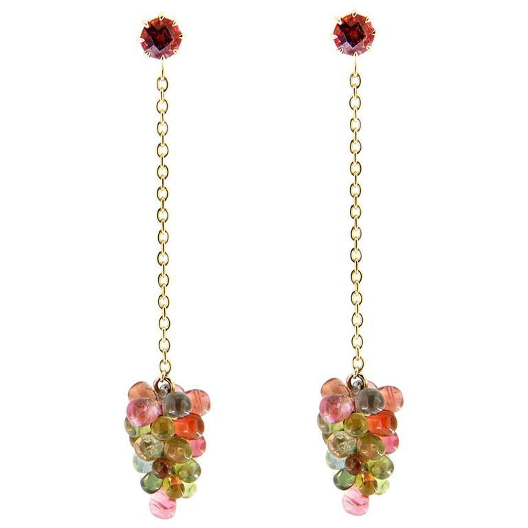 Jona Multi-Color Tourmaline Gold Pendant Earrings