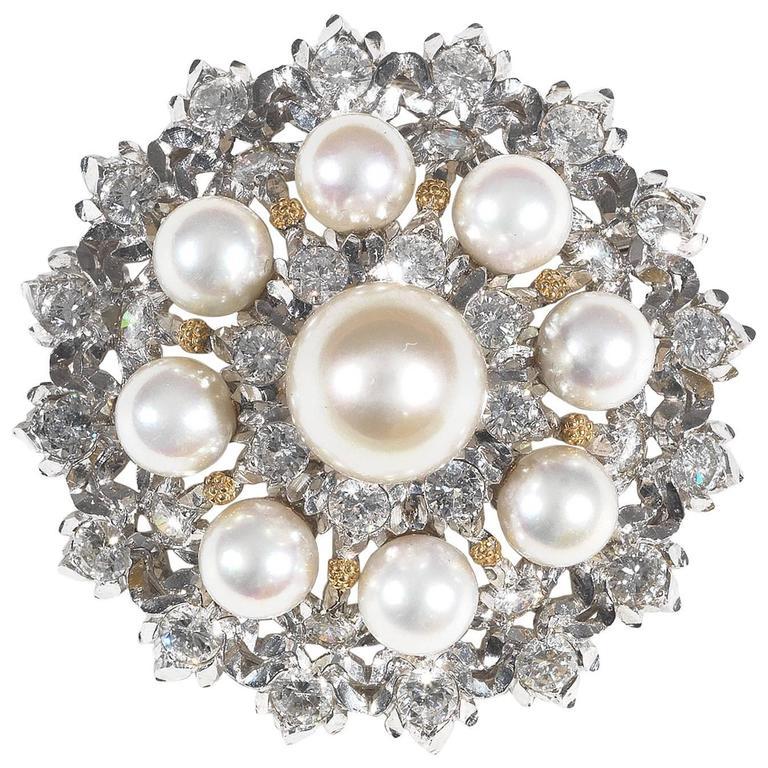 1980s Buccellati Cultured Pearl Diamond Gold Brooch