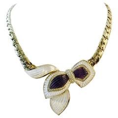 Magnificent Mother of Pearl Amethyst Diamond gold Necklace