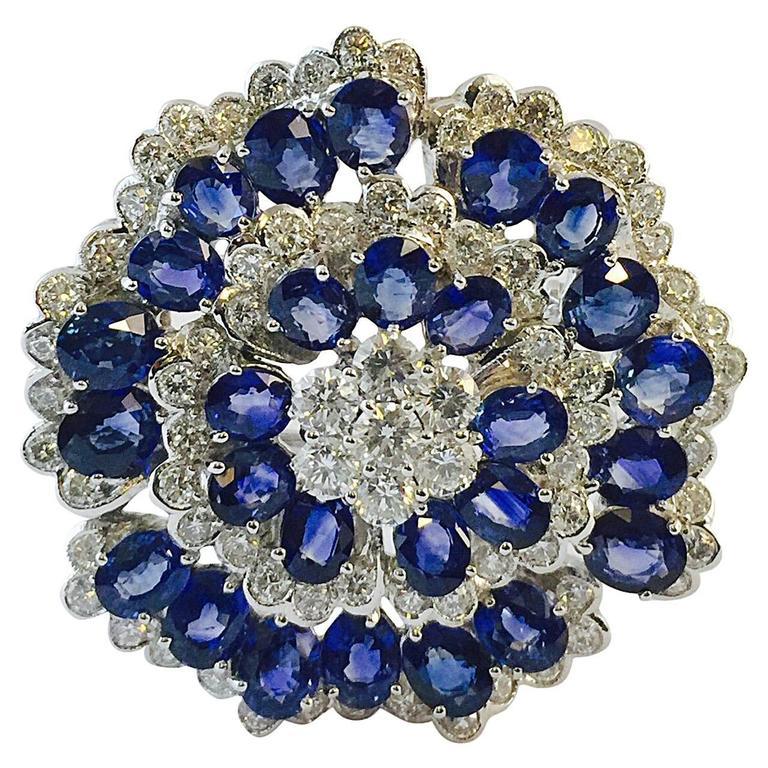 Captivating  Ceylon Sapphire Diamond Gold Brooch