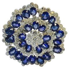 Captivating  Ceylon Sapphire Diamond Gold Brooch