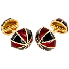 David Webb Enamel and Gold Cufflinks