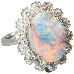 Black Opal Diamond White Gold Ring