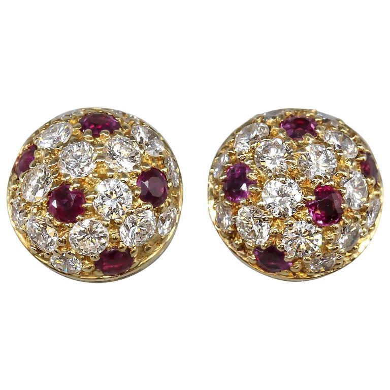 Cartier Ruby Diamond Gold Stud Earrings For Sale