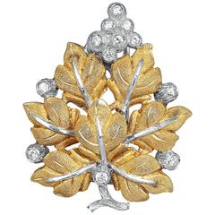 Buccellati Diamond Gold Leaf Pin