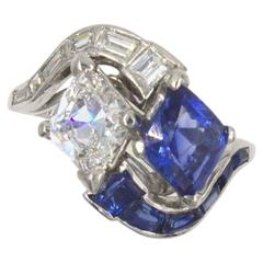 Art Deco Kite Shaped Diamond Sapphire Platinum Cocktail Ring