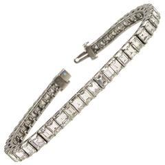 15 Carat Square Emerald Cut Diamond  Line Tennis Bracelet