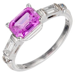 GIA Certified 1.49 Carat Purple Pink Sapphire Diamond Platinum Engagement Ring