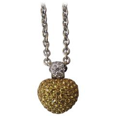 Stenzhorn Yellow Sapphire Diamond Two Color Gold  Heart Pendant