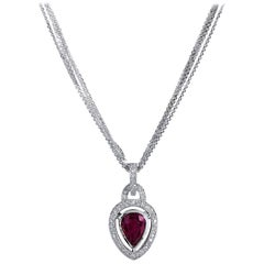 GIA Certified 2.00 Carat Pear Shaped Bezel Set Burmese Ruby Diamond Pendant